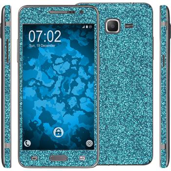 2 x Glitter foil set for Samsung Galaxy Grand Prime blue protection film
