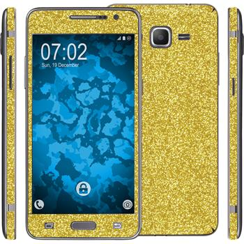 2 x Glitter foil set for Samsung Galaxy Grand Prime gold protection film