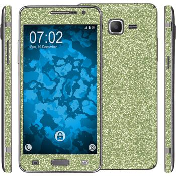 2 x Glitter foil set for Samsung Galaxy Grand Prime green protection film