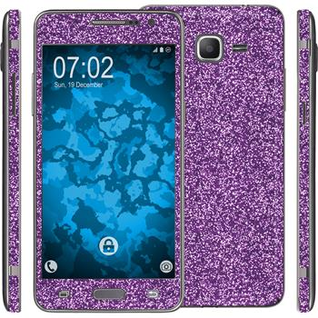 2 x Glitter foil set for Samsung Galaxy Grand Prime purple protection film