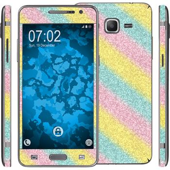2 x Glitter foil set for Samsung Galaxy Grand Prime rainbow protection film