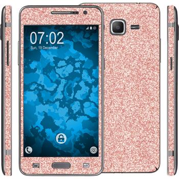 2 x Glitter foil set for Samsung Galaxy Grand Prime Rose Gold protection film