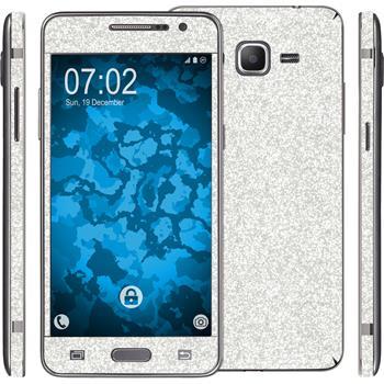 2 x Glitter foil set for Samsung Galaxy Grand Prime silver protection film