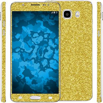 2 x Glitter foil set for Samsung Galaxy J5 (2016) J510 gold protection film