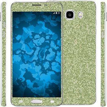2 x Glitter foil set for Samsung Galaxy J5 (2016) J510 green protection film