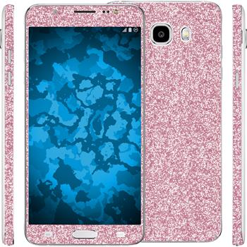2 x Glitter foil set for Samsung Galaxy J5 (2016) J510 pink protection film