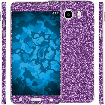 2 x Glitter foil set for Samsung Galaxy J5 (2016) J510 purple protection film