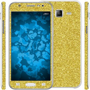 2 x Glitter foil set for Samsung Galaxy J5 (J500) gold protection film