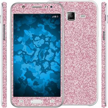 2 x Glitter foil set for Samsung Galaxy J5 (J500) pink protection film