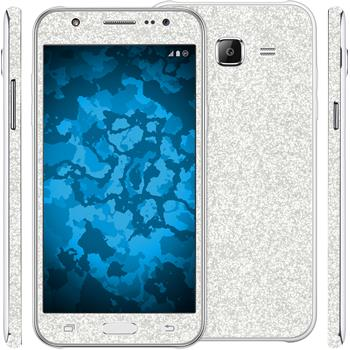 2 x Glitter foil set for Samsung Galaxy J5 (J500) silver protection film