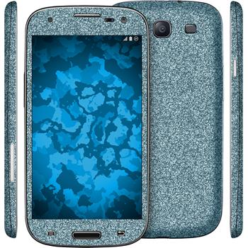 2 x Glitter foil set for Samsung Galaxy S3 blue protection film