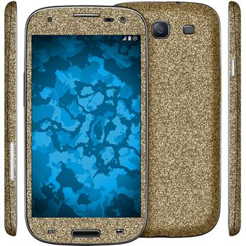 2 x Glitter foil set for Samsung Galaxy S3 gold protection film