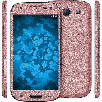 2 x Glitter foil set for Samsung Galaxy S3 pink protection film