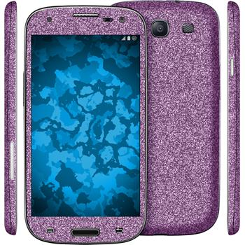 2 x Glitter foil set for Samsung Galaxy S3 purple protection film