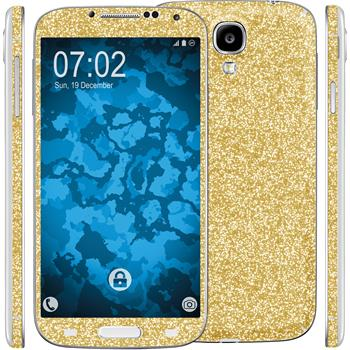 2 x Glitter foil set for Samsung Galaxy S4 gold protection film
