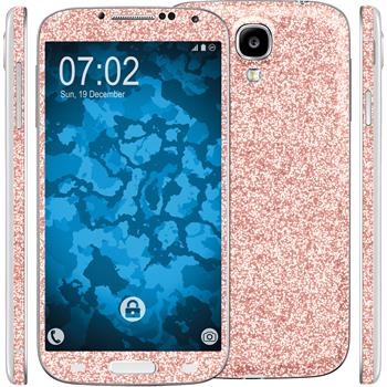 2 x Glitter foil set for Samsung Galaxy S4 pink protection film