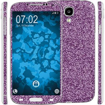 2 x Glitter foil set for Samsung Galaxy S4 purple protection film