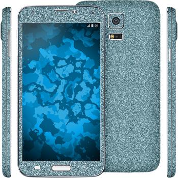 2 x Glitter foil set for Samsung Galaxy S5 blue protection film