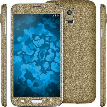 2 x Glitter foil set for Samsung Galaxy S5 gold protection film