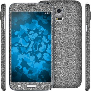 2 x Glitter foil set for Samsung Galaxy S5 gray protection film