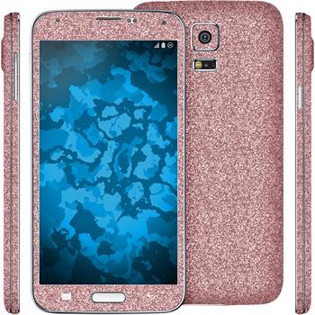 2 x Glitter foil set for Samsung Galaxy S5 pink protection film