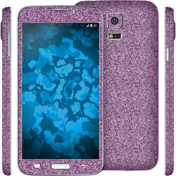 2 x Glitter foil set for Samsung Galaxy S5 purple protection film