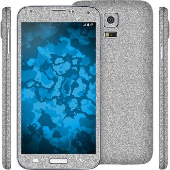 2 x Glitter foil set for Samsung Galaxy S5 silver protection film