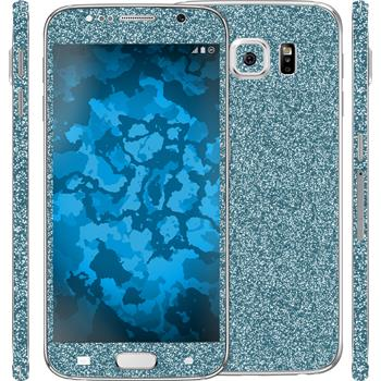 2 x Glitter foil set for Samsung Galaxy S6 blue protection film