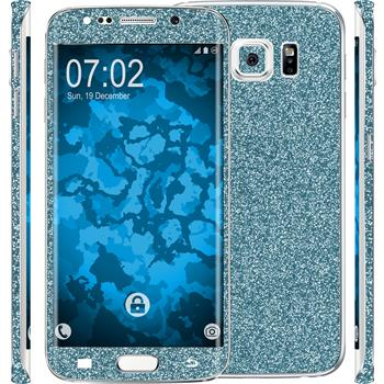 2 x Glitter foil set for Samsung Galaxy S6 Edge blue protection film