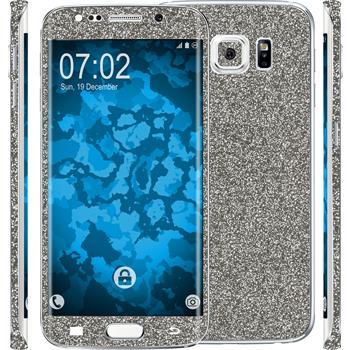 2 x Glitter foil set for Samsung Galaxy S6 Edge gray protection film