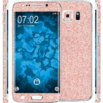 2 x Glitter foil set for Samsung Galaxy S6 Edge pink protection film