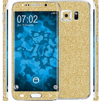 2 x Glitter foil set for Samsung Galaxy S6 Edge Plus gold protection film