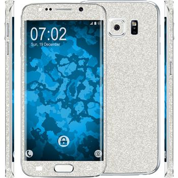 2 x Glitter foil set for Samsung Galaxy S6 Edge silver protection film