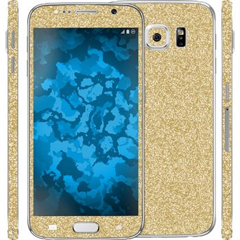 2 x Glitter foil set for Samsung Galaxy S6 gold protection film