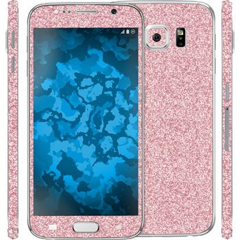 2 x Glitter foil set for Samsung Galaxy S6 hot pink protection film