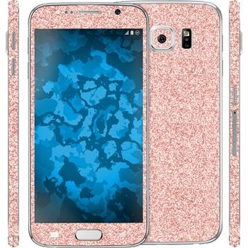 2 x Glitter foil set for Samsung Galaxy S6 pink protection film