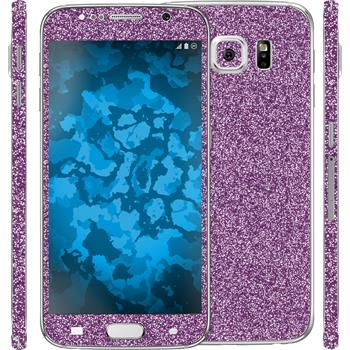 2 x Glitter foil set for Samsung Galaxy S6 purple protection film