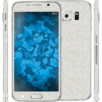2 x Glitter foil set for Samsung Galaxy S6 silver protection film