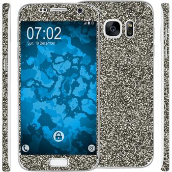 2 x Glitter foil set for Samsung Galaxy S7 black protection film