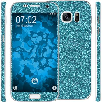 2 x Glitter foil set for Samsung Galaxy S7 blue protection film
