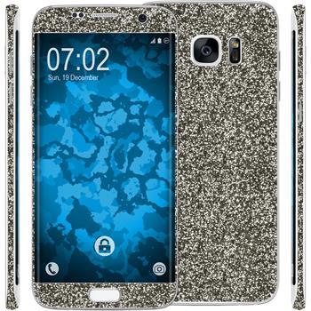 2 x Glitter foil set for Samsung Galaxy S7 Edge black protection film