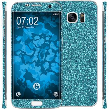 2 x Glitter foil set for Samsung Galaxy S7 Edge blue protection film