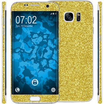 2 x Glitter foil set for Samsung Galaxy S7 Edge gold protection film