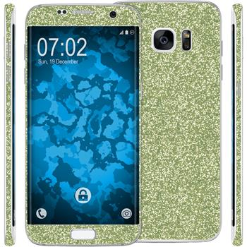2 x Glitter foil set for Samsung Galaxy S7 Edge green protection film