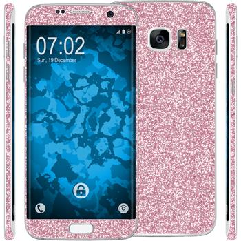 2 x Glitter foil set for Samsung Galaxy S7 Edge pink protection film