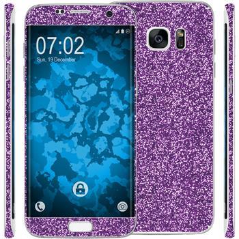 2 x Glitter foil set for Samsung Galaxy S7 Edge purple protection film