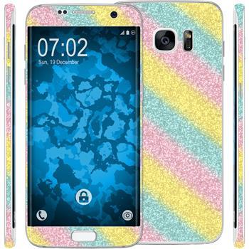 2 x Glitter foil set for Samsung Galaxy S7 Edge rainbow protection film