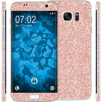 2 x Glitter foil set for Samsung Galaxy S7 Edge Rose Gold protection film
