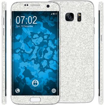 2 x Glitter foil set for Samsung Galaxy S7 Edge silver protection film
