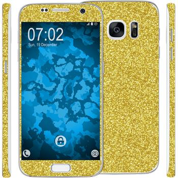 2 x Glitter foil set for Samsung Galaxy S7 gold protection film